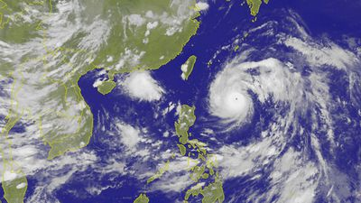 The colossal storm is lurking south-east off the Taiwanese coast, but headed towards the country at about 20km/h. (AAP)