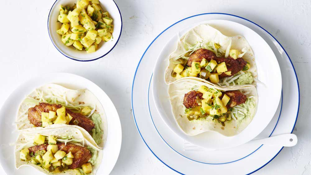 Fish tacos with calypso mango and jalepeno salsa
