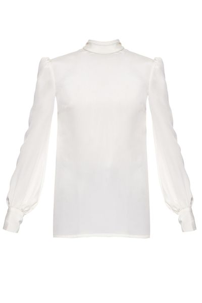 <p>Bell sleeves are a recurring theme this season, and they feature heavily in Hillier Bartley's first collection. This high-neck silk style also has a soft necktie at the back.</p>