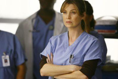 Ellen Pompeo as Dr Meredith Grey on Grey's Anatomy.