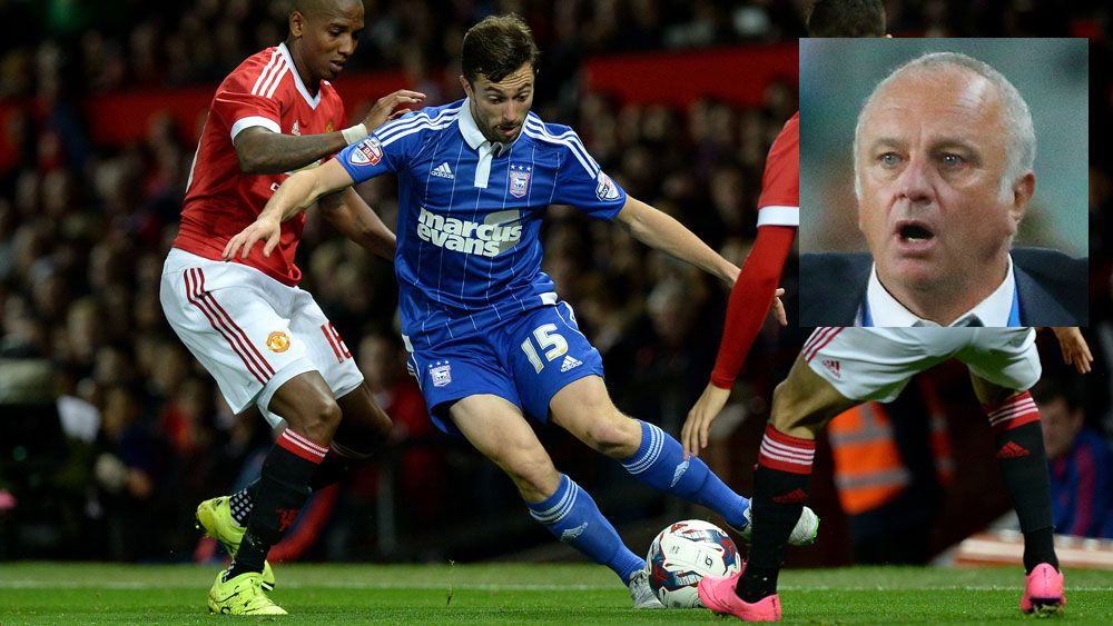 Tommy Oar in action for Ipswich Town and (inset) Graham Arnold. (AAP)