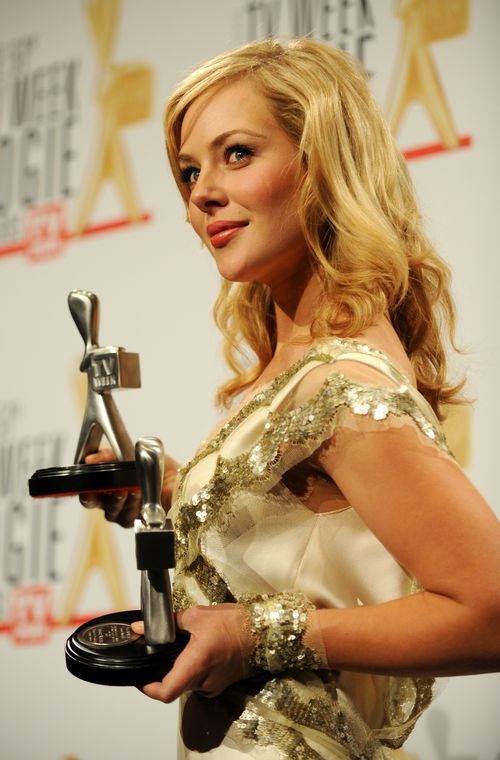 Most Popular Female Talent winner Jessica Marais with her awards at the 51st Logie Awards in 2009. Picture: AAP