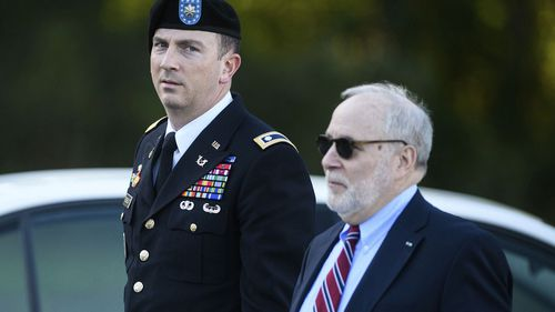 Military attorney, Lt. Col. Franklin Rosenblatt, and his civilian attorney, Eugene Fidell arrive at the hearing. Image: AP