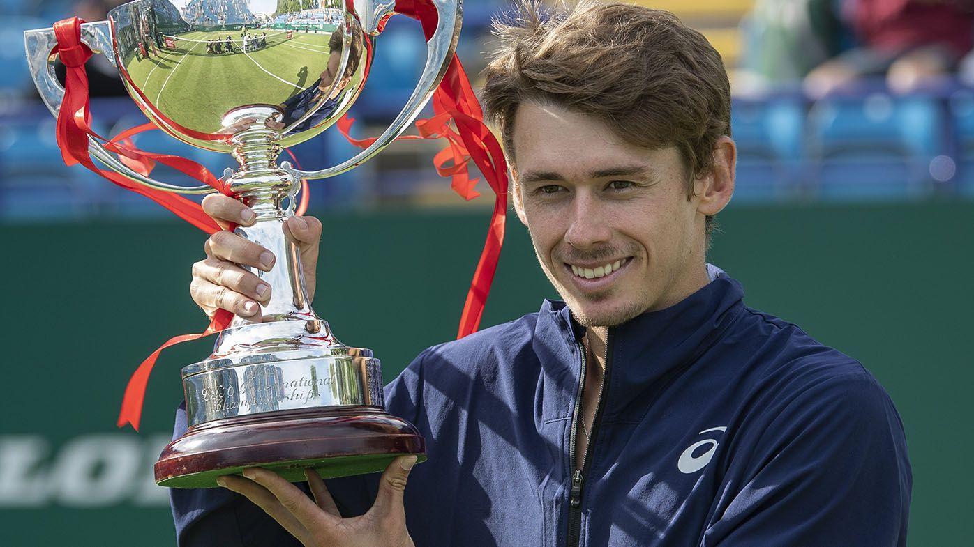 Alex de Minaur wins first grass-court title, taking out three-set Eastbourne final