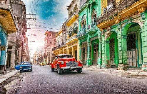 Havana, Cuba. Vintage cars and colourful architecture