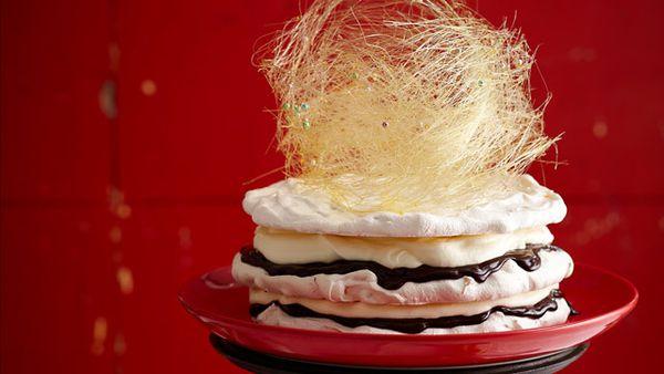 Layered meringue torte