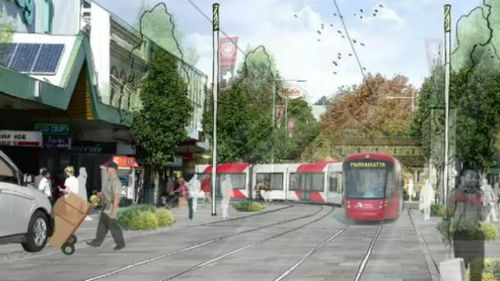An artist impression of one of the potential light rail routes that would link Parramatta to existing services. (Supplied)