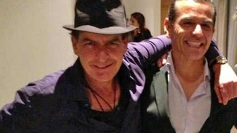 Charlie Sheen and LA mayor Antonio Villaraigosa