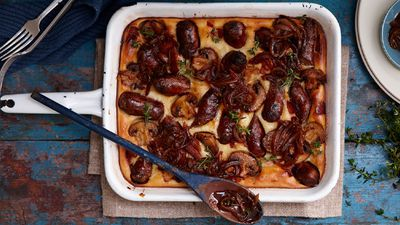 """Recipe:&nbsp;<a href=""""/recipes/isausage/8348791/yorkshire-sausage-bake"""" draggable=""""false"""">Yorkshire sausage bake</a>"""