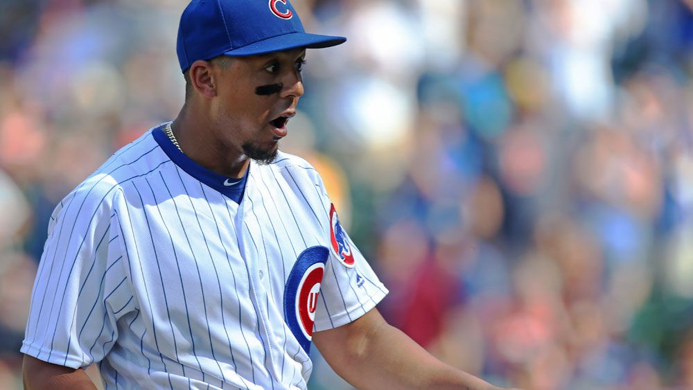Chicago Cubs player John Jay shocked even himself in a rare trip to the pitcher's mound. (Getty Images)
