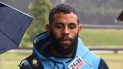 Frizell and Addo-Carr withstand pouring rain at NSW Blues press conference
