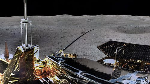 The pictures on state broadcaster CCTV showed the Jade Rabbit 2 rover and the Chang'e 4 spacecraft that transported it on the first-ever soft landing on the far side of the moon, which always faces away from Earth.