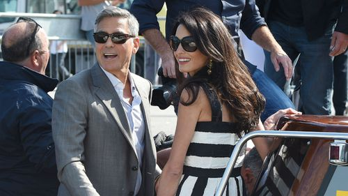 George Clooney and Amal Alamuddin arrive in Venice. (Getty Images)