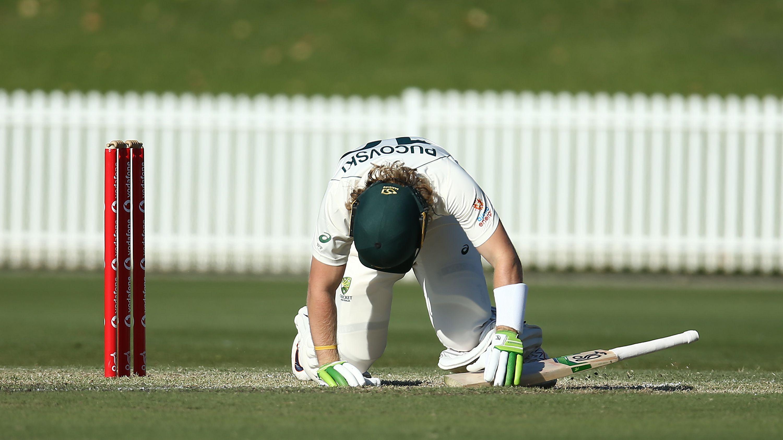 Will Pucovski of Australia A lies injured after been struck in the helmet.
