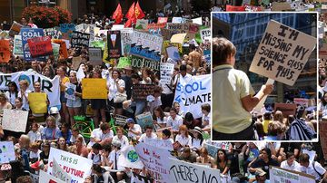 Thousands of students rally demanding action on climate change, in Sydney.