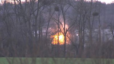 An explosion occurs at the French paper factory where the two Charlie Hebdo suspects were holed up. (Supplied)