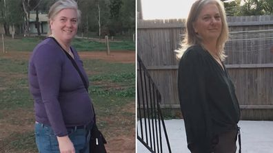 Melissa Mason before (left) and after (right) embarking on her diet overhaul.