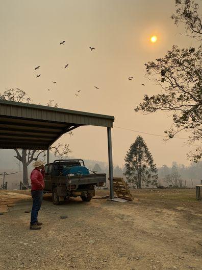 Bianca and Dave farm bushfire approaching