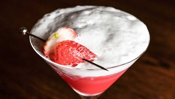Champagne and strawberry cocktail