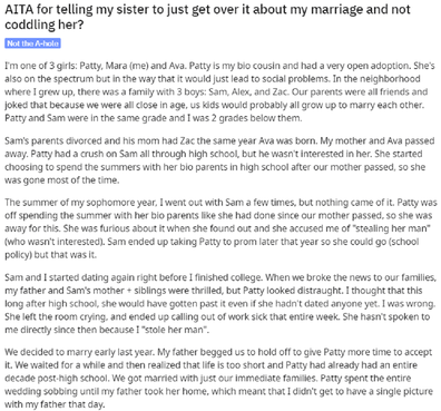 Reddit post about jealous sister wedding.