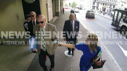 Chris Dawson (far left) has faced court in Sydney today.