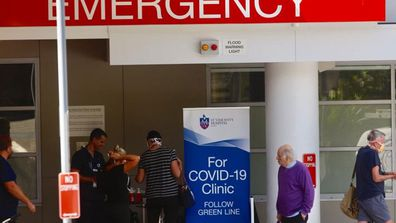 A Covid-19 testing station out the front of St.Vincents hospital in Darlinghurst