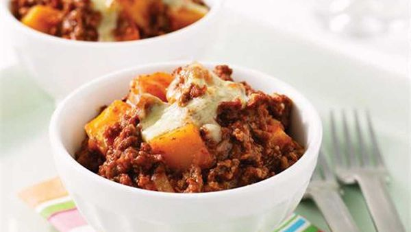 Leftover bolognese: Beef mince and pumpkin melts recipe