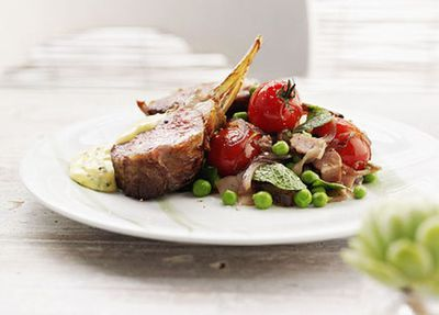 """Recipe:<a href=""""http://kitchen.nine.com.au/2016/05/19/16/09/roast-rack-of-lamb-with-pancetta-summer-vegetables-and-mint-bearnaise"""" target=""""_top"""">Roast rack of lamb with pancetta, vegetables and mint bearnaise</a>"""