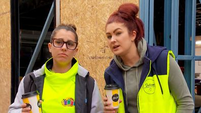 Sarah and Tam watch as one team's game-changer is delivered to their kitchen on The Block 2020