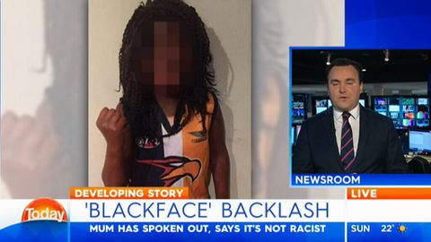 Mother defends dressing son in 'blackface'