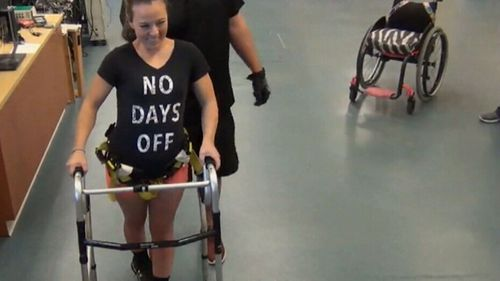 American Kelly Thomas has become one of the first paraplegics in the world to take steps on her own.