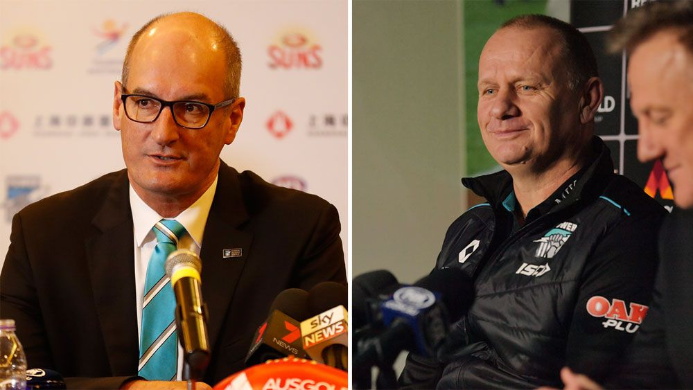 AFL news: Port Adelaide coach Ken Hinkley on same page as chairman David Koch after signing new deal