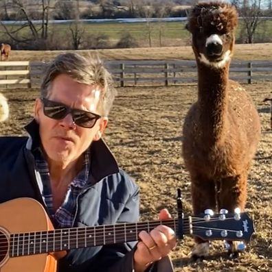 Kevin Bacon covers Backstreet Boys on a farm.