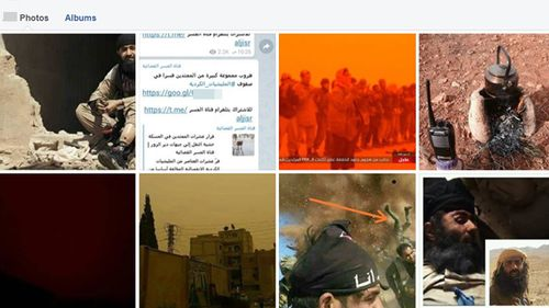 A Facebook user account shows imagery associated with Islamic State.