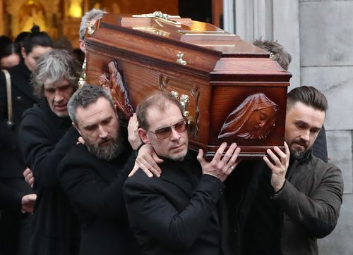 The open coffin of The Cranberries lead singer Dolores O'Riordan was viewed by hundreds of fans at a public service in Ireland today (AAP).