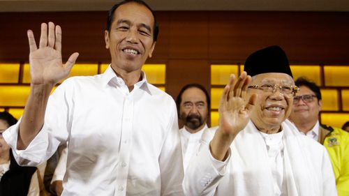 Indonesian President Joko Widodo and his running mate Ma'ruf Amin.