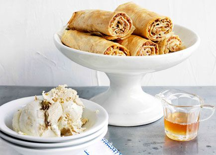 Baklava fingers with honey syrup and halva ice-cream