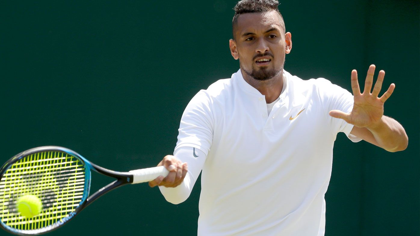 Nick Kyrgios competes in the first round of Wimbledon 2018. (AAP)