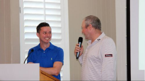 Jarrod Lyle on stage with Adam Jackson. Picture: Golf Queensland
