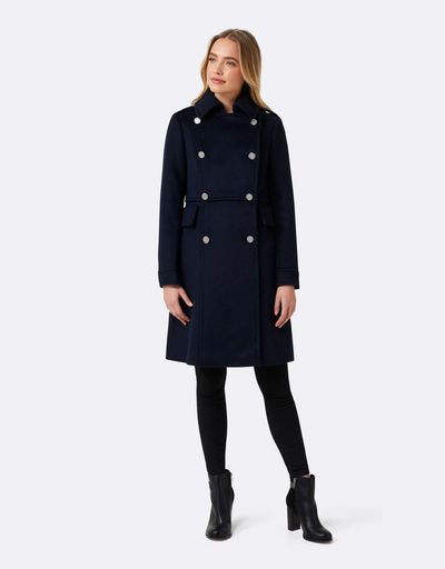 "<a href=""https://www.theiconic.com.au/helena-double-breasted-coat-615954.html"" target=""_blank"" draggable=""false"">Forever New Helena Double Breasted Coat in Navy, $229</a>"
