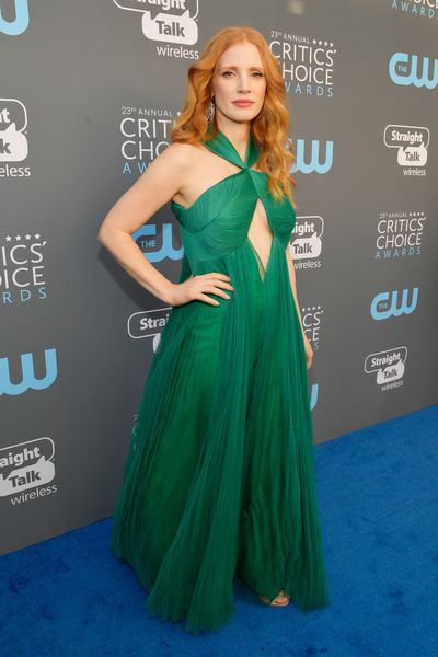 Actress Jessica Chastain at the 2018 Critics Choice Awards