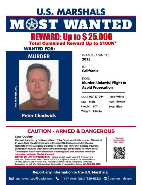 Peter Chadwick's Most Wanted poster issued after he disappeared while on bail charged with the murder of his wife Quee Choo