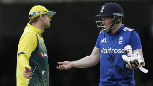 Steve Smith and Eoin Morgan debate Stokes' dismissal. (AAP)