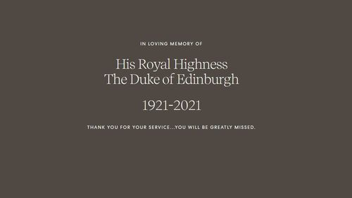 The Duke and Duchess of Sussex Prince Harry and Meghan Markle switch their website to a page in tribute to Prince Philip