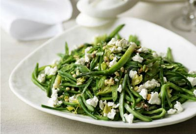 Green bean and goat's cheese salad with anchovy dressing