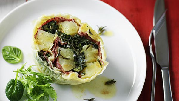 Rotolo of potato, salami and cavolo nero