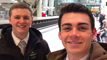 Mason Wells (left) was injured in the blasts at Brussels Airport. (Facebook)