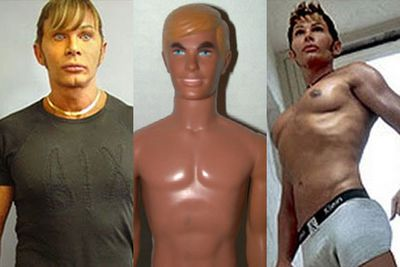 He's earned himself the nickname 'The Human Ken Doll', but freaky-faced plastic surgery addict Steve Erhardt actually started out trying to look like his idol Michael Jackson. Erhardt has had countless surgeries including a facelift, chin implants, nose job, a fake cleft, and pec implants.