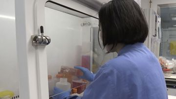 Screen grab taken from video issued by Britain's Oxford University, showing a person working inside the lab working on a potential COVID-19 coronavirus vaccine, untaken by Oxford University in England, Thursday April 23, 2020.