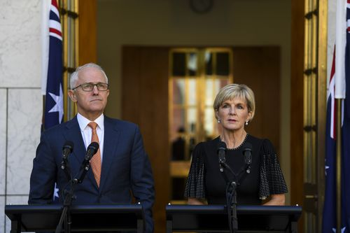PM Turnbull and Foreign Minister Julie Bishop said yesterday that Australia was acting in solidarity with the United Kingdom in expelling two spies. Picture: AAP